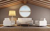 Modern living room in an attic