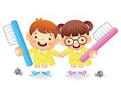 Boy and girl is holding a big toothbrush. Education and life Cha