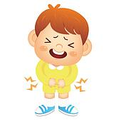 Boy is have a stomachache. Education and life Character Design s