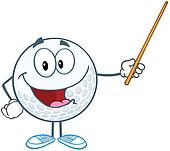 Smiling Golf Ball Holding A Pointer