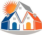 Real estate houses and sun logo