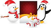 snowman and penguin with christmas