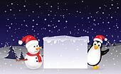 snowman and penguin Christmas with