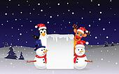 deer,penguin and snowman with blank
