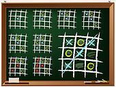 Tic tac toe variations on chalkboard