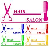 set colorful hair salon symbols
