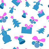 Christmas seamless background. Blue and purple color.