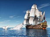 Sailing Ship with White Whale