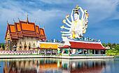 Thailand landmark in koh Samui, Shiva sculpture and Buddhist tample