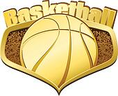 Gold Basketball Shield with Text
