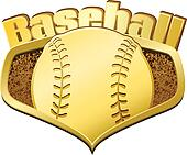 Gold Baseball Shield with Text