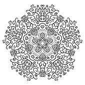 Vintage antique ornament background. Black and white colors.