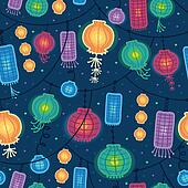 Glowing lanterns seamless pattern background