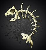 Fish Bones Skeleton Cartoon Charact