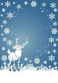 White reindeer and snowflakes