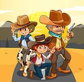 Three cowboys at the road