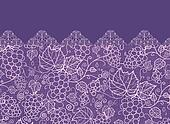 Lace grape vines horizontal seamless pattern background border