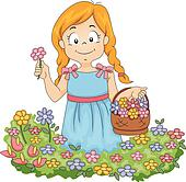 Pick Flowers Clip Art - Royalty Free - GoGraph