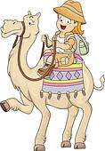Little Kid Girl Riding a Camel