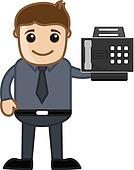 Man Showing a Fax Machine Vector