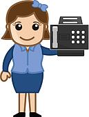 Woman Presenting a Fax Machine