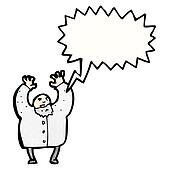cartoon shouting mad scientist
