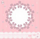 Pink card with pearls, lace and flowers