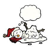 melting snowman cartoon