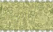 Green lace flowers horizontal seamless pattern background border