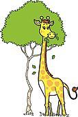 Cute Giraffe Eating Leaves