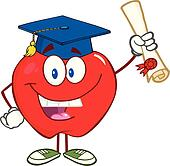 Smiling Apple Holding A Diploma