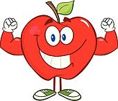 Apple Character With Muscle Arms