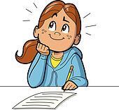 Schoolgirl Taking Test