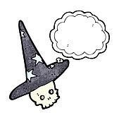 spooky skull in wizard hat cartoon
