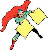 Classic superhero ripping paper or sign in half