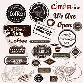 Set of vintage vector coffee badges and labels