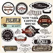 Vector set of retro grunge labels premium quality