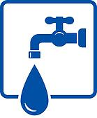 plumbing icon with tap and water