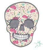 Cute skull with floral pattern