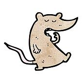 cartoon yawning rat