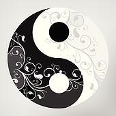 Yin yang pattern symbol