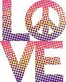 Halftone LOVE-Peace Symbol