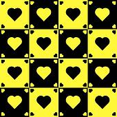Yellow and black hearts on black and yellow background 4x4