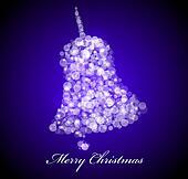 Vector Christmas card. Blue bell