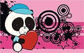 panda bear baby cartoon love heart