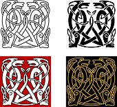 Ancient celtic ornament with wild animals