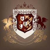 Coat of arms with shield, banner and horses in luxury style