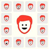 different emotions & feelings of young man's face- vector graphi