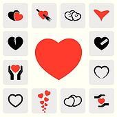 abstract heart icons(signs) for healing, love, happiness- vector