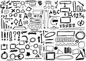 hand drawn, doodle, shapes, circle